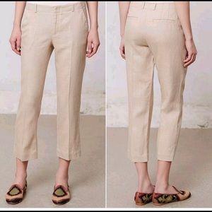 anthropologie elevenses Cropped Linen Blend Pants